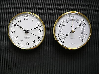 100mm Brass Bezel Insertion Barometer and Sweep Clock set