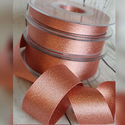 10, 15, 25mm Rose Gold Lame Ribbon. Glitter Satin, Wedding Gift Pink/Gold, Card