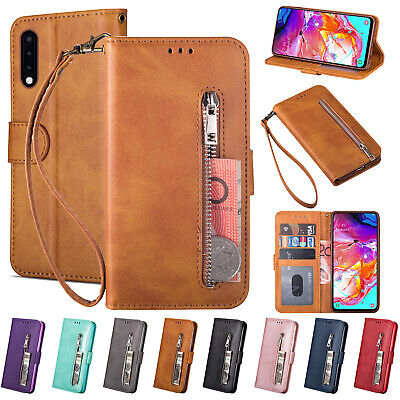 For Samsung A30 Case A50 A10 A70 A5 2017 J4 Plus M30 Leather Zipper Magnet Cover