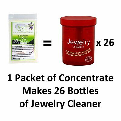 Jewelry Cleaner Magic Green Ultrasonic Solution Gold Diamonds Makes 2 Gallons