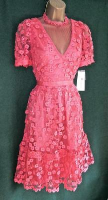 New FRENCH CONNECTION UK10 Coral Pink Lace CABALLO High Necked Fit&Flare DRESS