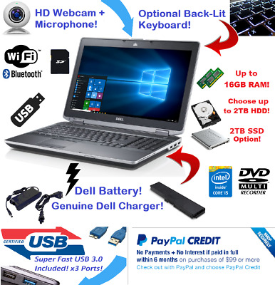 "Dell Latitude Laptop 15.6"" Intel i5 2TB SSD 🚩16GB RAM 🎮 WiFI HDMI + Win 10 Pro"