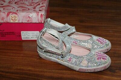 3d8f883a17430 Lelli Kelly US 11 or EU 29 Butterfly Mary Jane Shoes Silver Sparkle Pink  Beads