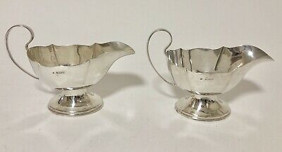 Quality Pair of Antique Solid Sterling Silver Sauce Gravy Boats Birmingham 1923