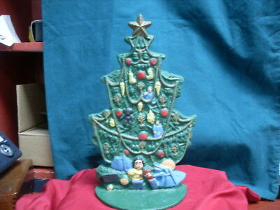 """Vintage Collectible Cast Iron Christmas Tree Decor / Door Stop 11"""" Tall #2074"""