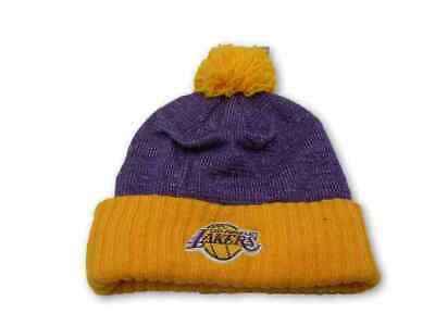 687f8469e LOS ANGELES LAKERS Knit Beanie Hat Cap Cuffed MITCHELL AND NESS ...