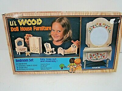 Vintage Li'l Wood Doll House Furniture Bedroom Set Unused In Box Harmony Toys