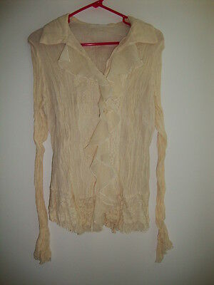 Isabella Rodriguez New 100% Silk Cream Lace Blouse 14 16 Vintage Romantic NWT