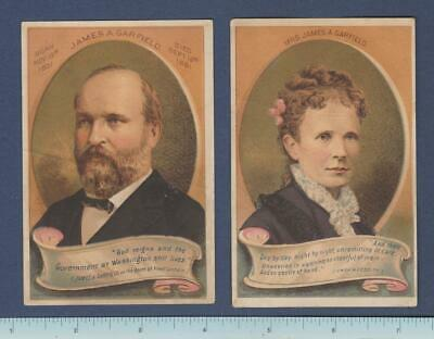 1880's President James Garfield & Mrs.Garfield Trade Card Set: Cigars~Oysters