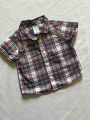 Gymboree Baby Boy Plaid Shirt Size 3-6 Months Red White And Blue