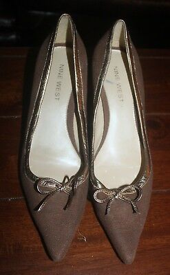 da76b6f530 Nine West Dalys Pointed Stiletto Heels Pump Brown Tan Fabric Gold Trim Bow 7.5  M