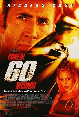"""Gone In 60 Seconds movie poster (b)  Nicolas Cage, Angelina Jolie : 11"""" x 17"""""""