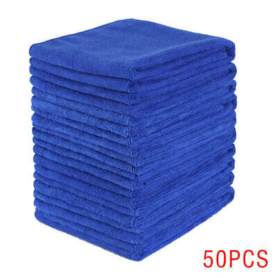 50 X Microfiber Cleaning Cloth Blue Towel Set For Car Polishing Auto Det asd