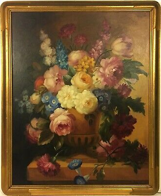 MARY VONNE Early 20th c. American FLORAL STILL LIFE OIL PAINTING Flowers in Urn