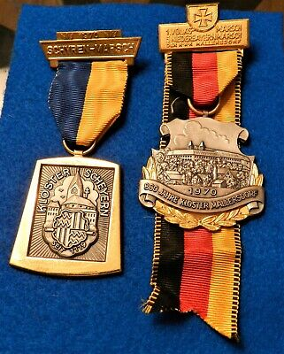 Vintage German Volksmarch Wandertag Medal Lot of 2 - 1970 - Interesting Medals