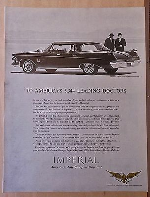 1962 magazine ad for Chrysler - Imperial Crown Southampton, To America's Doctors