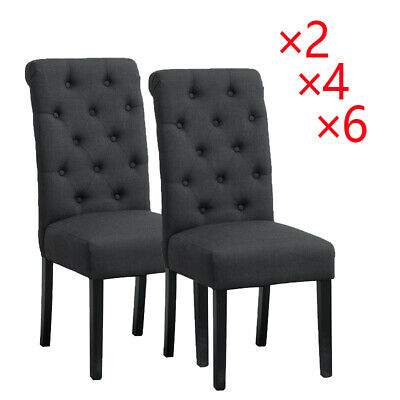 2/4/6 Pcs Dining Chairs High Back Fabric Upholstered Button Tufted Dining Room