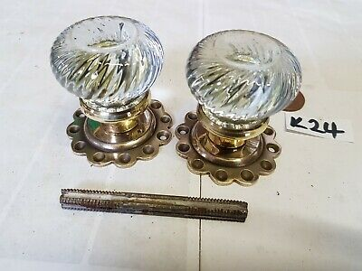 ANTIQUE Glass Door Knobs Vintage READY TO FIT rare 1 of 9 pairs SWIRL GLASS K83