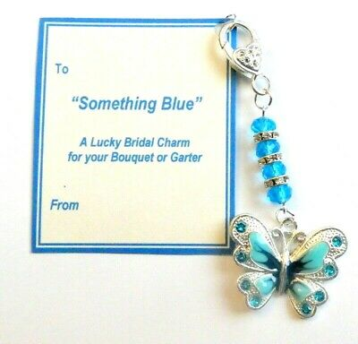 Something Blue Lucky Butterfly Traditional Bridal Charm for Garter or Bouquet