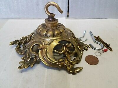 HUGE Antique CEILING ROSE 190mm chandelier hook OLD Cast brass OLD 1900 French
