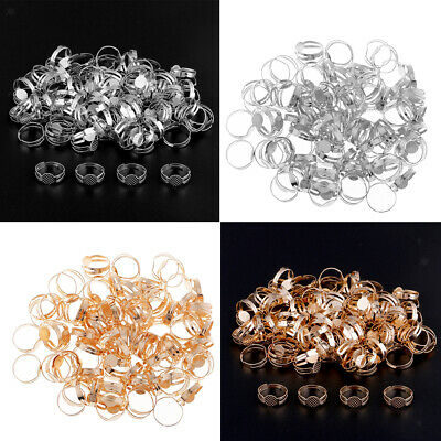 200pcs Brass Adjustable Finger Ring Pad Base Blank Cabochon Bezel Settings