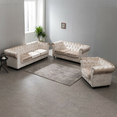 Chesterfield Sofa Fabric, 3+2 Seater, Armchair Crushed VELVET Suite BUTTON Back