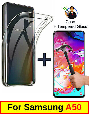 Slim Clear Cover Soft Gel Case & Tempered Glass Protector For Samsung Galaxy A50