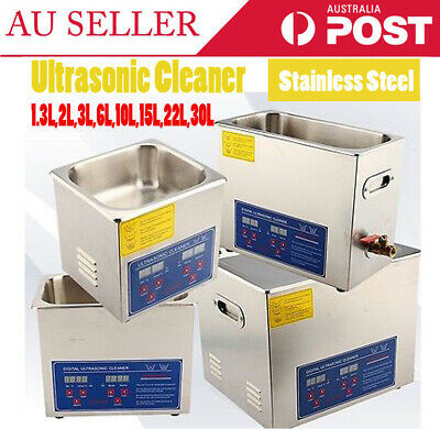 Au Digital Stainless Ultrasonic Cleaner Ultra Sonic Bath Cleaning Tank Timer