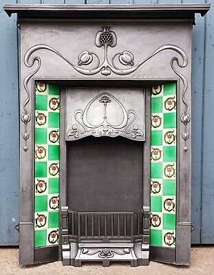 Original Antique Cast Iron Art Nouveau Combination Fireplace - 10 Orginal Tiles