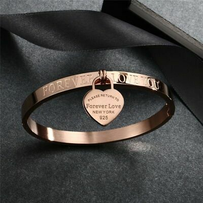 Women's Stainless Steel Cuff Love Bangle Bracelet Heart Forever Love You Jewelry