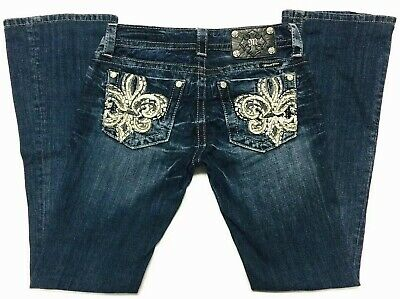 Miss Me Buckle Fleur De Lis Embellished Bling Poc Womens Jeans Boot 26x32