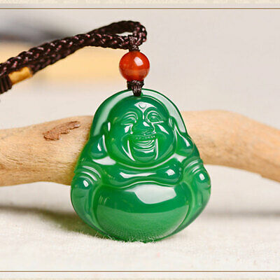 Fine Natural hand-carved green agate Chalcedony buddha Lucky Amulet pendants