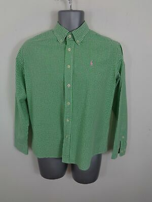 Mens Polo Ralph Lauren Green/White Check Button Up Long Sleeved Shirt Uk S Small