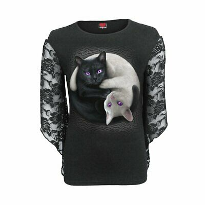 SPIRAL DIRECT YIN YANG CATS Sleeve Lace F035 F474 Top/Cats/Kitten/Gift/Tee