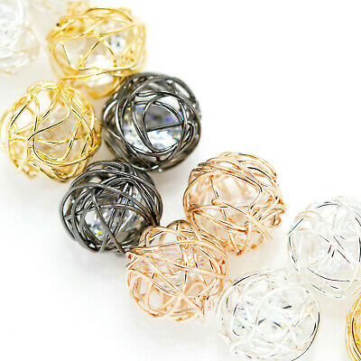 10x Wire Wrapped Rhinestone Caged Crystal Round Ball Beads for Jewellery making
