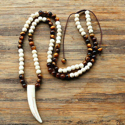 White Tooth Polished Stone Beads Tribal Ethnic Ethnic Horn Pendant Necklace Mens