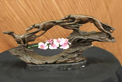 Superb Solid Bronze Whippet Greyhound Dog Running Dogs Sculpture Figurine Decor