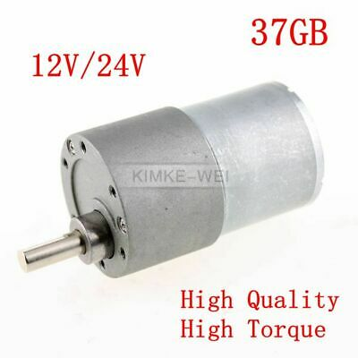 37mm 12V/24V DC 5RPM - 1000RPM High Torque Gear Box Motor Reducer Reversible New
