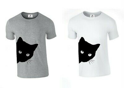 e51914adc Neck Scoop Crazy Cat Funny Kitty Casual Lady Top Tshirt ( SIDE CAT , T-
