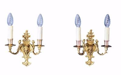 Regency Pair of Ormolu Bronze Wall Sconces Two Lights with Mascarons
