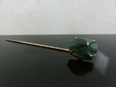 Victorian Egyptian Revival Real Scarab Beetle Gold Filled Head Pin Brooch
