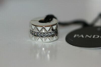 Authentic Nwt Summer 2019 Pandora Sparkling Jagged Lines Clip 798067Cz Tag Box