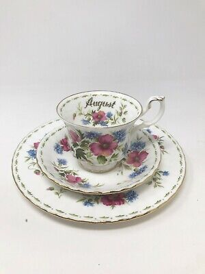 Royal Albert Bone China Teacup Set - Flower of the Month Series August