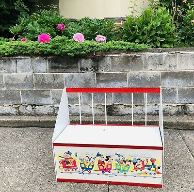 Vintage American Toy Furniture Mickey Mouse Goofy Toy Box Storage Bench 80s 90s