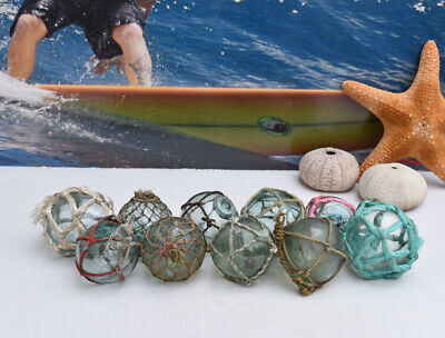 """Vintage Japanese Glass Fishing Floats, 2"""" Netted, Lot 10"""