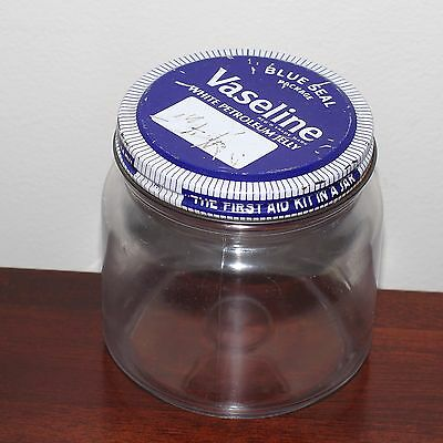 Vintage VASELINE 'Blue Seal' plastic jar with metal lid - collectable