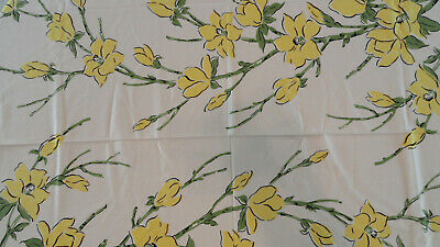 """Vintage 1950's Large 62"""" x 52"""" Yellow & Green Floral Retro Kitchen Tablecloth"""