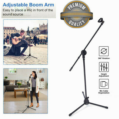 360°Rotate Telescoping Microphone Boom Stand Mic Stage Studio Holder Clip Tripod