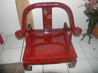 Chinese Style Red Lacquer Horseshoe Arm Chairs  Century Furniture