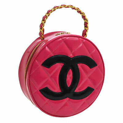 702fb9b96d1e4f Auth CHANEL Quilted CC Chain Vanity Round Hand Bag Pink Patent Leather  AK31764